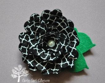 SUMMER SUPER SALE Black Quatrefoil Rose Felt Flower Clip