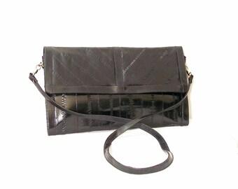 Vintage 1970s Black Eel Skin Shoulder Bag Leather of the Sea Clutch Bag Purse