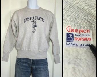 Deadstock Vintage 1950s Champion Running Man Tag Sweatshirt size Large Gray Camp Aquatics Sea Horse NOS 5 inch cuffs
