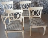 5 vintage chairs dining set Hollywood Regency style painted white with modern geometric upholstery
