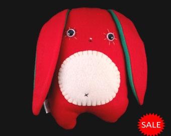 Christmas Bunny Rabbit Fleece Plush Berry SALE