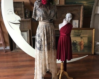 Tea Taupe and Black Full Lace Tulip Cut Infinity Dress with short slip and Double Straps. Vintage Bridal, Bohemian Bridesmaids