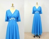 60s prom dress evening Gown sequin Mike Benet POOL BLUE 1960s vintage party dress maxi IngridIceland