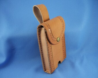READY TO SHIP -  Phone Holster - Hand Tooled Leather - Rugged