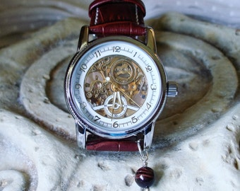 Silver Wrist Watch - Luxury Mechanical with Rust Leather Wristband - Automatic - Red Tigers Eye    A 355