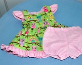 18 Inch Doll Pink Gingham Ruffled Sundress With Matching Pink Gingham Panties by SEWSWEETDAISY