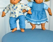 15 Inch Twin Baby Dolls Blue Denim Outfits by SEWSWEETDAISY