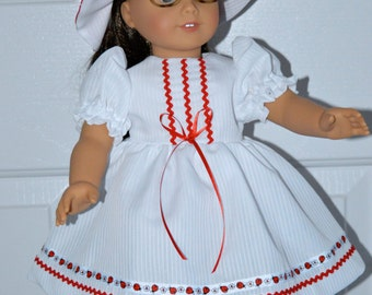 18 Inch Doll Clothes Short Sleeve White Dress with Red Lady Bug Trim and Matching Floppy Brim Hat by SEWSWEETDAISY