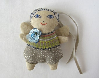 forget-me-not blue-haired linen angel - linen ornament - decorative toy