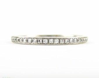 Estate Diamond Half Eternity Ring in 18 Carat White Gold, Narrow Pave Set Diamond Wedding Band. 0.15 ctw, Size M / 6.25.