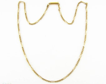 Antique 15ct Gold Chain Necklace, Figaro Link Pendant Chain with Barrel Clasp. 41.5 cm / 16.25 inches, 4.85 grams.