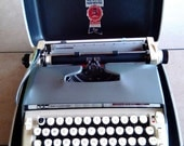 1960s Vintage Smith Corona CLASSIC 10 Portable Typewriter with Original Hard Case, New Ribbon.