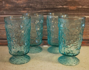Set of Four Vintage Aquamarine Anchor Hocking Lido Glass Tumblers/Parfaits, Mid Century Modern.