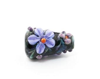 Sheribeads Glass Bead Black and Purple Focal Cone Lampwork