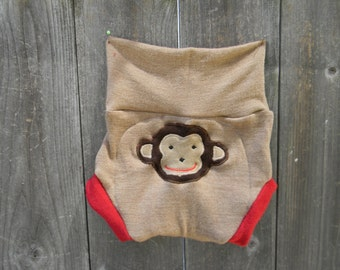 Upcycled  Merino Wool Soaker Cover Diaper Cover With Added Doubler Beige/ Red With Monkey Applique  LARGE 12-24M Kidsgogreen