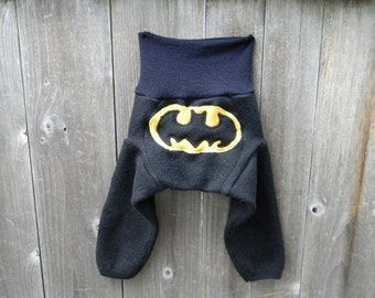 SMALL Upcycled Merino Wool  Longies Soaker Cover Diaper Cover With Added Doubler Black / Navy Blue With Batman  Applique SMALL 3-6M
