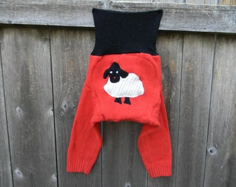 MEDIUM Upcycled Wool/ Cashmere Longies Soaker Cover Diaper Cover With Added Doubler Orange/ Black With Baa Baa Sheep Applique MEDIUM 6-12M