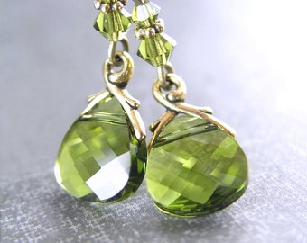 Olive Green Earrings Antique Gold Earrings Green Swarovski Crystal Earrings Dainty Jewelry Moss Green Dangle Earrings Green Drop Earrings