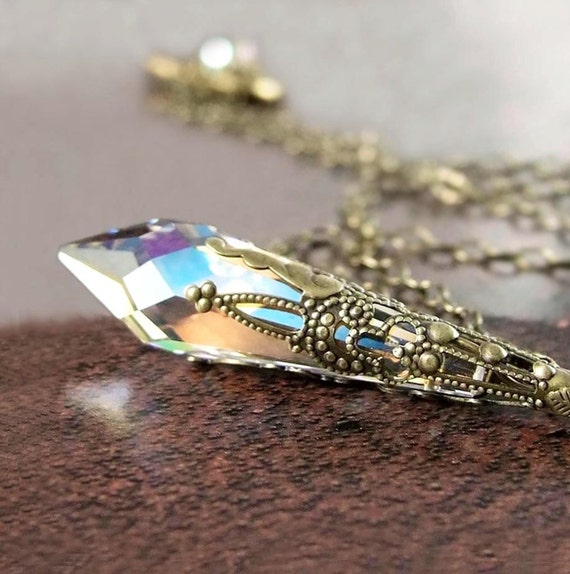 Clear Crystal Necklace Antique Gold Brass Chain Swarovski Clear Crystal Pendant Necklace Crystal  Brass Jewelry Aurora Borealis Prism Icicle