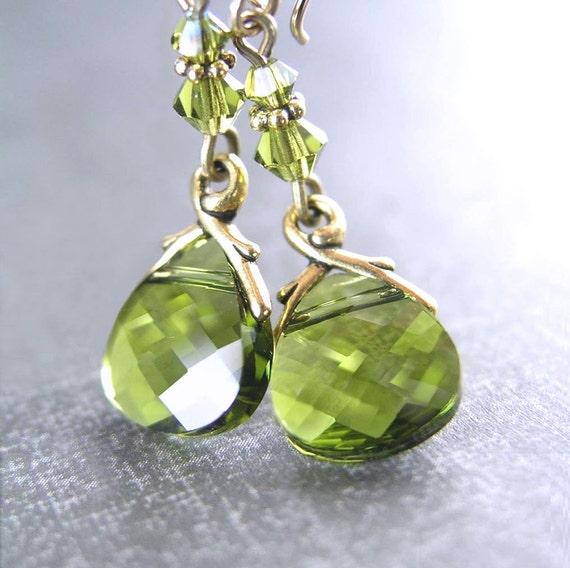 Olive Green Earrings Antique Gold Earrings Green Swarovski Crystal Earrings Dainty Jewelry Moss Green Dangle Earrings Green Drop Earrings