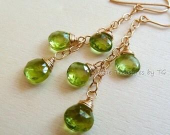 SALE Apple Green Peridot cluster earrings. Dangle. August Birthstone earrings. Drop earrings. Ready to ship. Peridot jewelry. Leo Gift