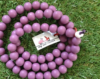 Coco Resin Bead Matte finish Statement Necklace in Radiant Orchid Plum Purple