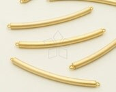 PD-1112-MG / 2 Pcs - Curved Round Stick Sideways Pendant, Matte Gold Plated over Brass / 37mm x 2.4mm