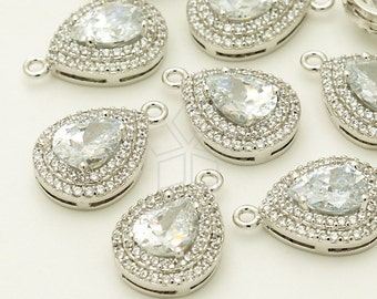 PD-1290-OR / 2 Pcs - Full Glittering Rhinestone CZ Pendant, Lux Bridal Jewelry, Silver Plated over Brass / 10.9mm x 16mm
