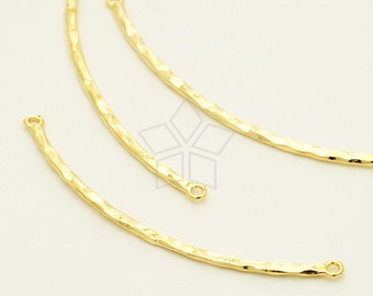 PD-1306-GD / 2 Pcs - Hammered Bent Bar Sideways Pendant for Necklace, Gold Plated over Brass / 49mm