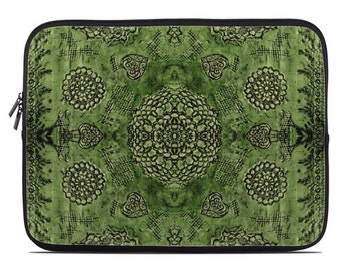 Boho laptop case, emerald green boho laptop sleeve, bohemian laptop cover, tablet sleeve, netbook case, to fit 10, 13, 15, 17 inch