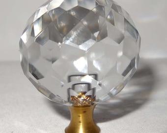Crystal Round Finial Lamp Top Home and Garden Lighting Lighting Fixtures Lamp Hardware