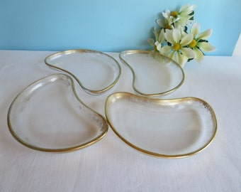 Vintage Gold Speckled Glass Amoeba Shaped Snack Plates - Set of 4 - 22 karat Gold