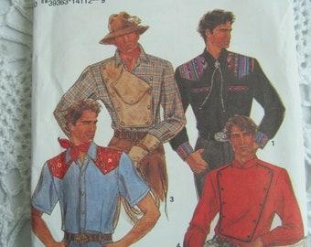 Simplicity Pattern 8441 Mens Shirts Western Civil War Looking 4 Views Size 38 40 42 44 1990s