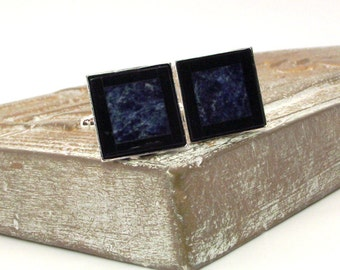 Black and Blue Mosaic Stone Cufflinks - Onyx and Sodalite Cufflinks – Black and Blue Cufflinks