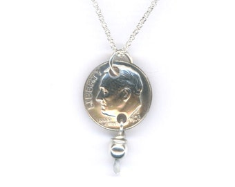 1977 Dime Pendant Sterling Chain Necklace 40th Anniversary 40th Birthday Gift 1977