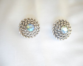 Vintage Coro Silver Tone Iridescent Stone Clip On Earrings