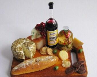 1:12 Artisan Cheese, Wine & Olives Board by IGMA Artisan Robin Brady-Boxwell - Crown Jewel Miniatures