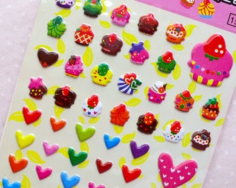 Cupcake Heart Star Puffy Sticker (1 Sheet) Kawaii Deco Sticker Card Making Wedding Embellishment Valentines Day Gift Packaging Supplies S367