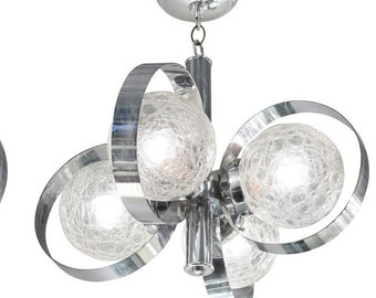 Chrome Sputnik Ceiling Light / Chandelier Crackle Bulb Fixture