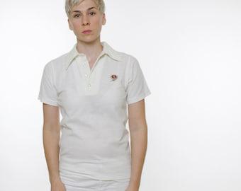 Vintage 70's NFL polo shirt, San Francisco 49er's logo, off white, pointy collar, 50 / 50 poly cotton - Small