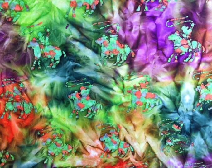 Green orange purple Horse Cowboy Hand dyed batik fabric quilt fabric by the yard Fat quarter 100% cotton fabric yardage