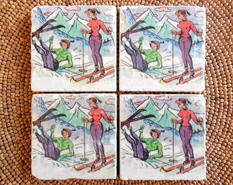 "Marble Stone Coaster Set - ""Fun Ski Gals"" - Ski Decor - Ski Coaster - Rustic Decor - Ski - Coaster - Vintage Ski - Natural Stone"