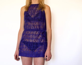 60s Purple Micro Mini Sheer Patterned Lace Swimsuit Cover Up xxs xs s