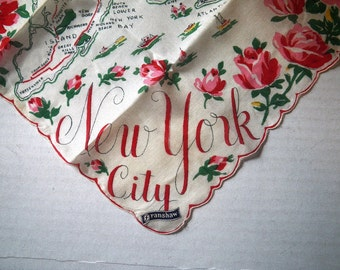 New York City Map Hankie - Franshaw New with Tag
