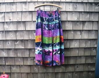 Multicolor Batik Rayon Tiered Festival Skirt - one size - Purple Green