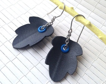 Recycled Bike Inner Tube - Riveted Leaf Earrings