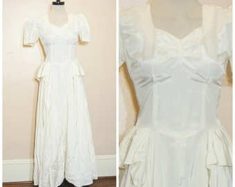 60s Wedding Dress Small Minimalist Retro Short Sleeves Satin Long White Dress Vintage