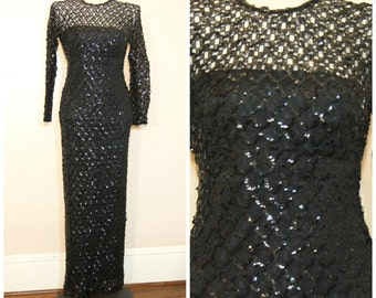 90s Black Sequin Maxi Dress Medium Sheer Sleeves Lace Goth