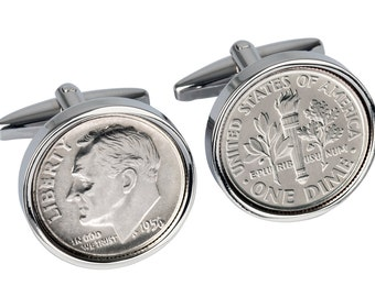 81st Birthday Cufflinks - Genuine 1936 silver coin -  Includes presentation box - 100% satisfaction - 3 day delivery option