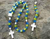 First Communion Gift Special-Lego Rosary and Lego Chaplet - The Original Catholic Lego Rosary - Blue and Green